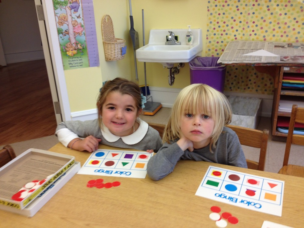 Caroline and William played Color and Shape Bingo.
