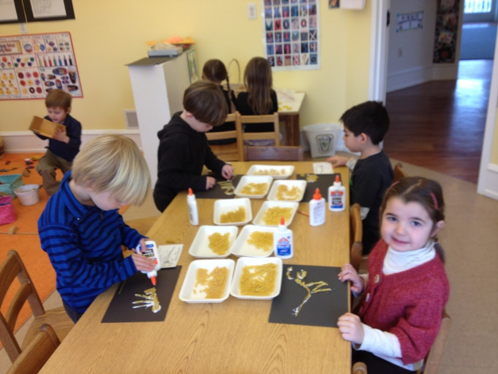 making dinosaur skeletons with pasta
