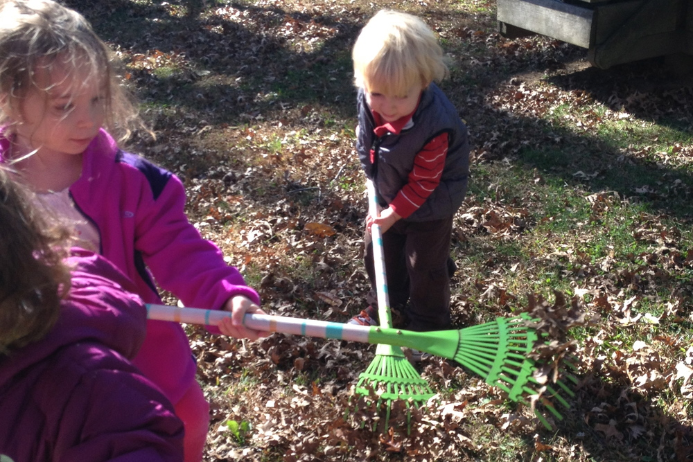 working together to rake playground leaves...