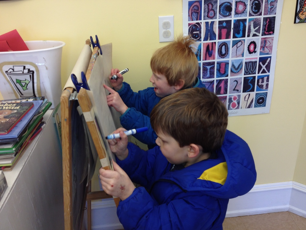 painting at the new easel with a friend