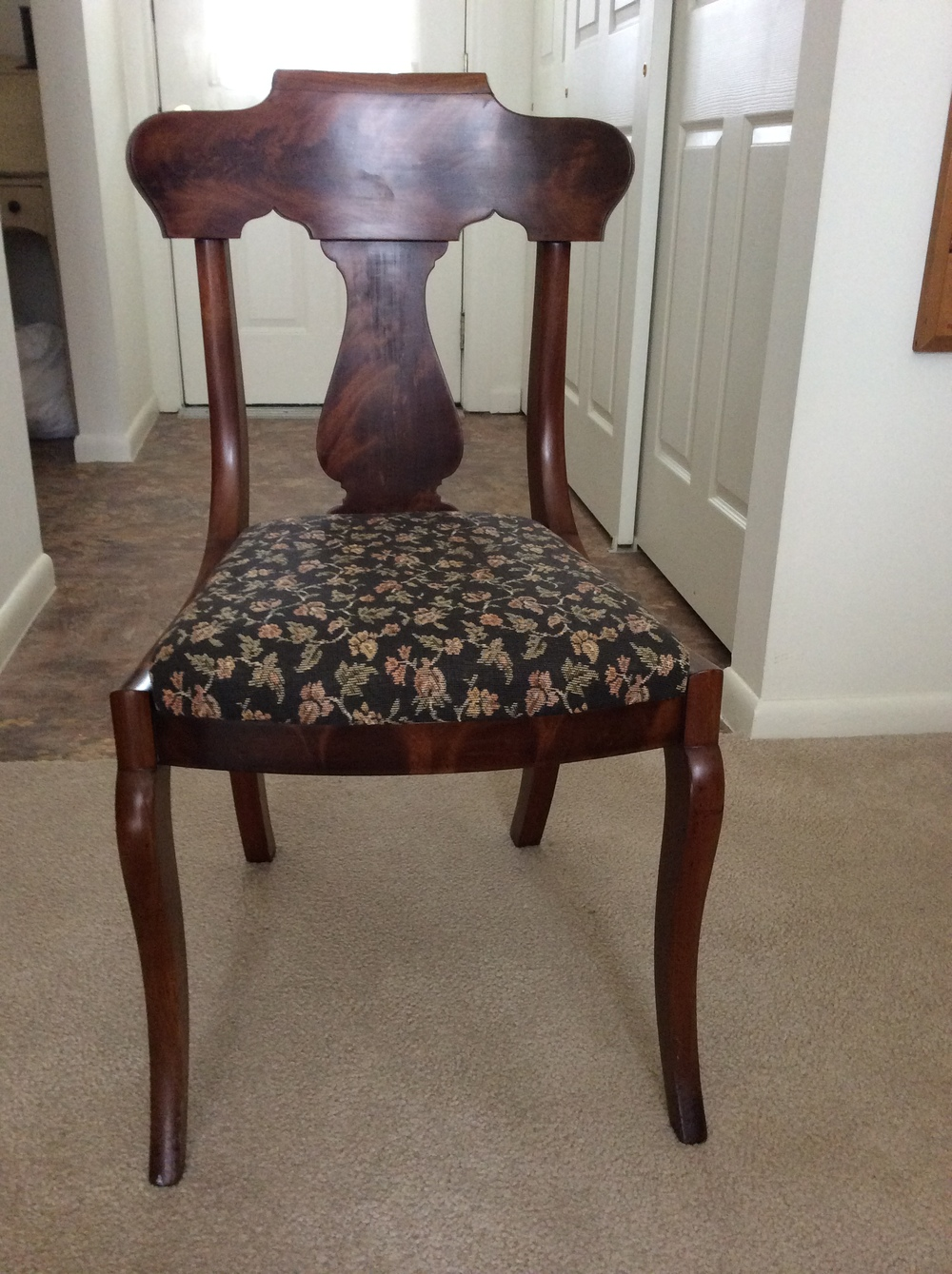 Empire sabre leg dining chair,  mahogany veneer.  $125 estimated value