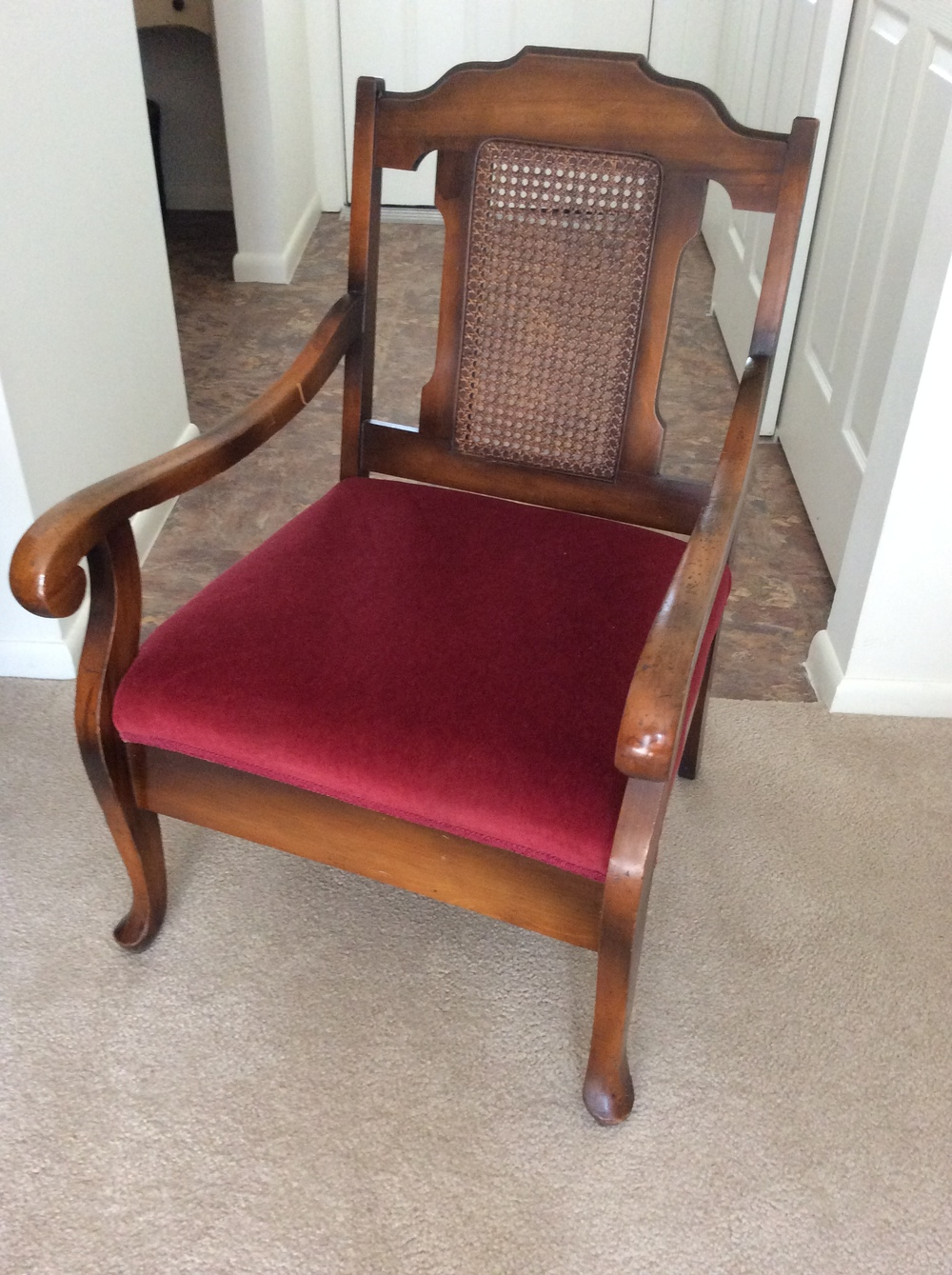 Cane back mother/daughter chairs (one taller, one short),  red velvet seats, circa1920's.  $200 estimated value for pair