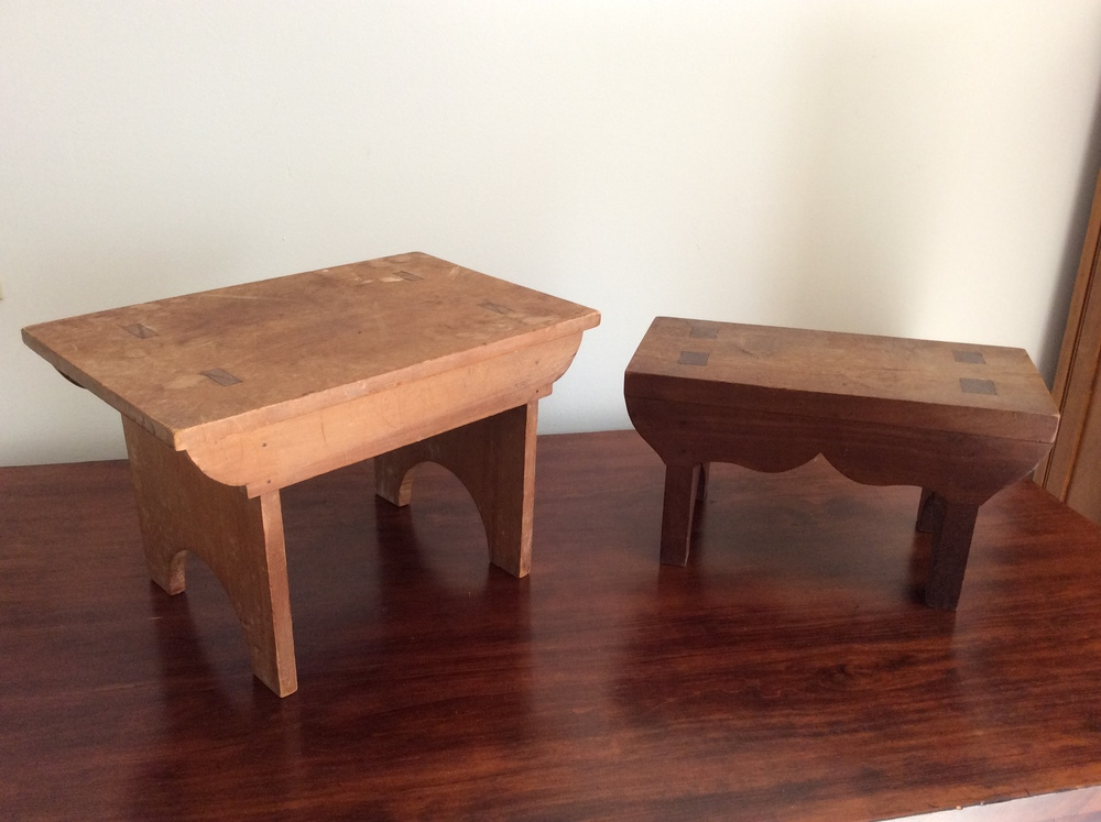 Miniature step stools, early style with through tenons.   $80 each, estimated value