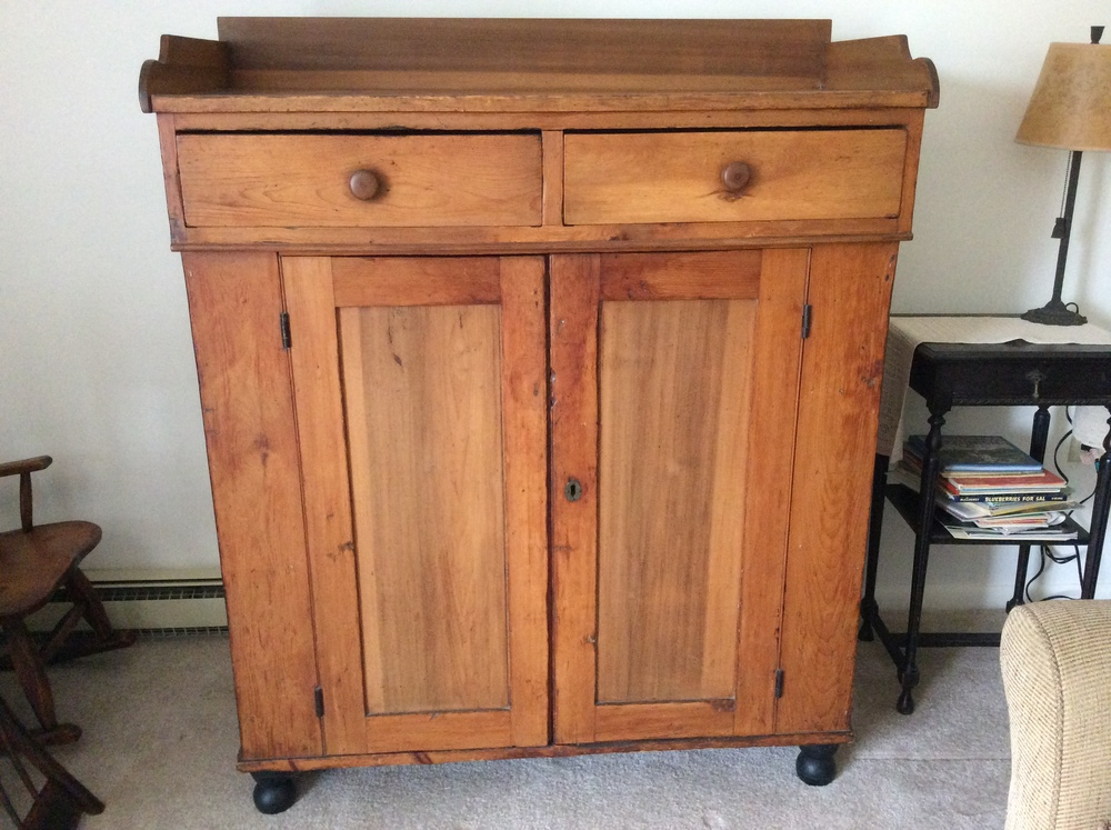 Pennsylvania Poplar cupboard with  backsplash, late 1800's.  $850 estimated value