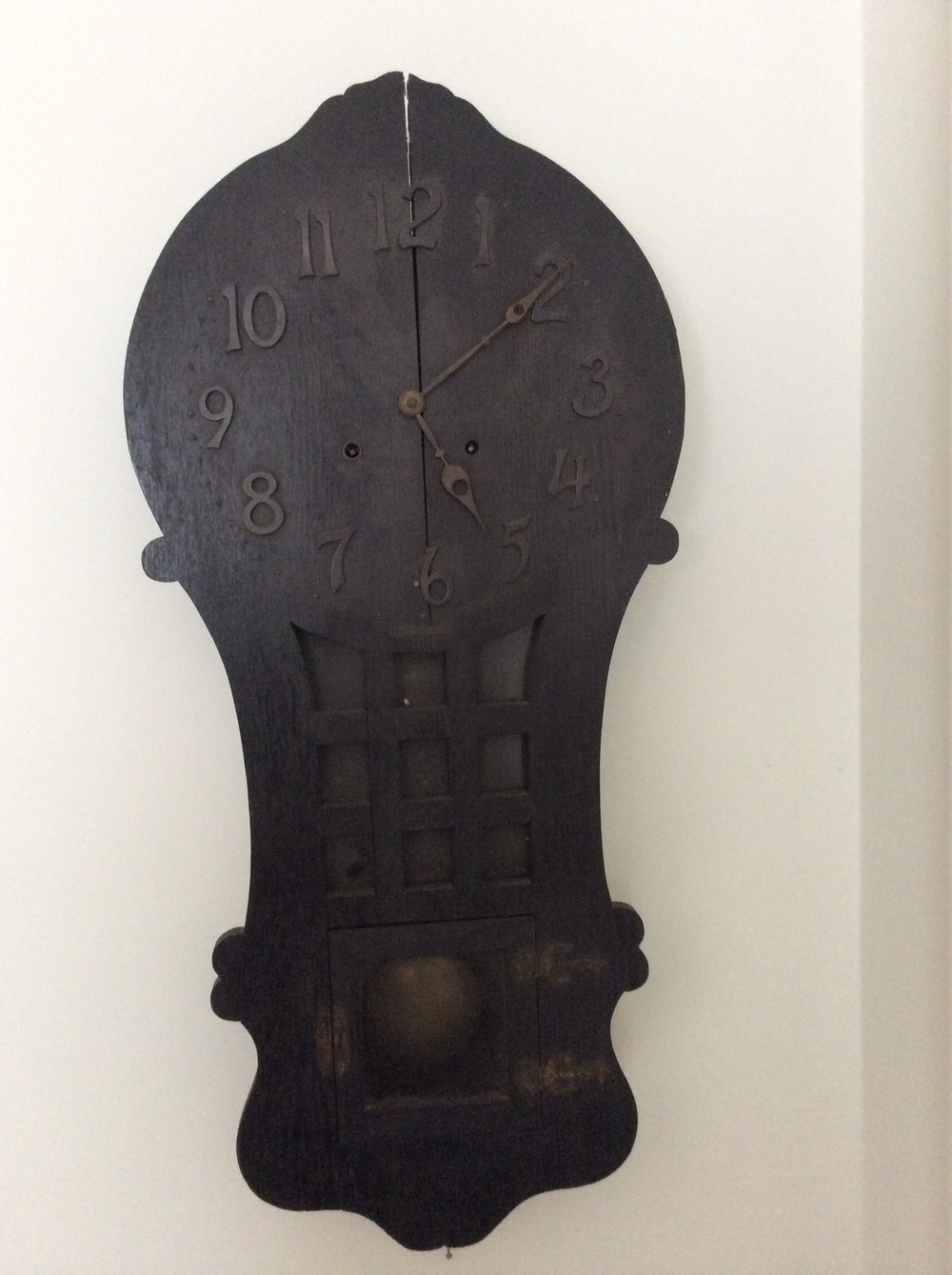 Oak wall clock, original finish.   $75 estimated value