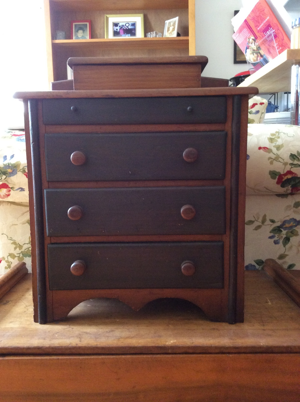 Miniature 4-drawer chest with hinged top well, great example of a highly collectible form.   $1000 estimated value