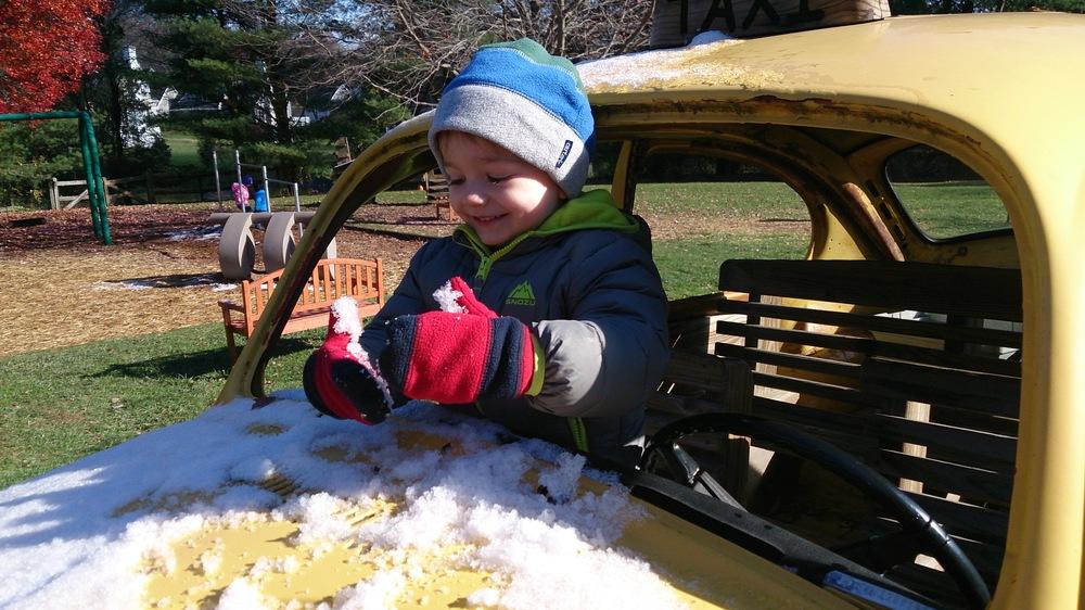 Enjoying the first snow this season at Fairville - November 13, 2014
