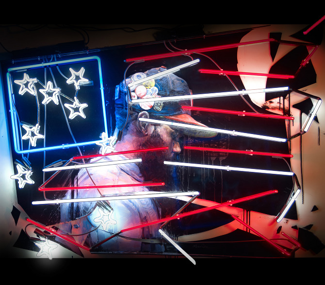 'Savage Journey To The American Dream' - mixed media on plex and neon 2012