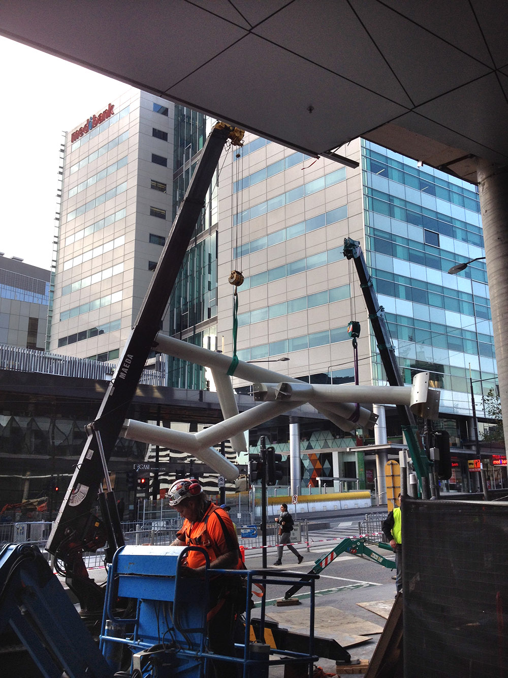 Horstmans' sculpture 'Super Sonic' undergoes construction in Collins Square. Photo provided by Hassell Studio