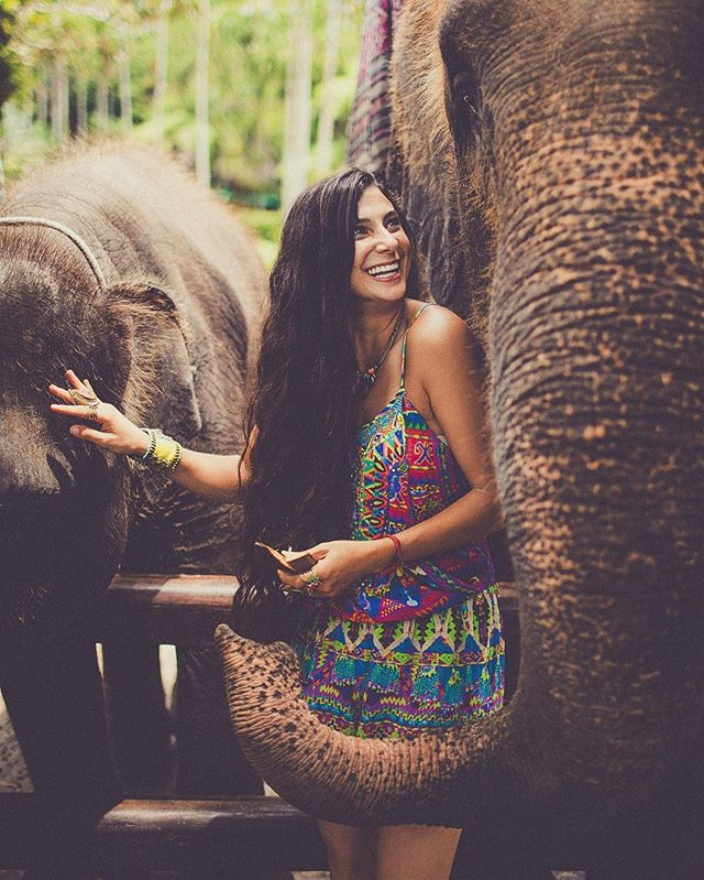 💕 Feeling so humbled around these incredible creatures with @fullyrawkristina 🌴🐘🐒✨ Some important info: I put in a LOT of research before visiting this park to make sure it was moral and treated its elephants right. I do not support animal cruelty whatsoever! Taro Elephant Safari take elephants who have been used for logging and instead of having them killed, they give them a home where they can live the rest of their life happily. I was talking to some of the trainers at the park who ALL say the elephants are their second family 💕🐘🙌🏼