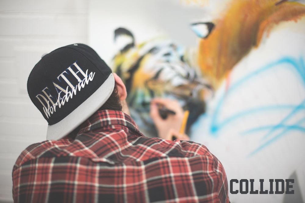 COLLIDE 2015 A first solo exhibition by SLED ONE. COLLIDE was a mix media showcase by this talented, up and coming artist.