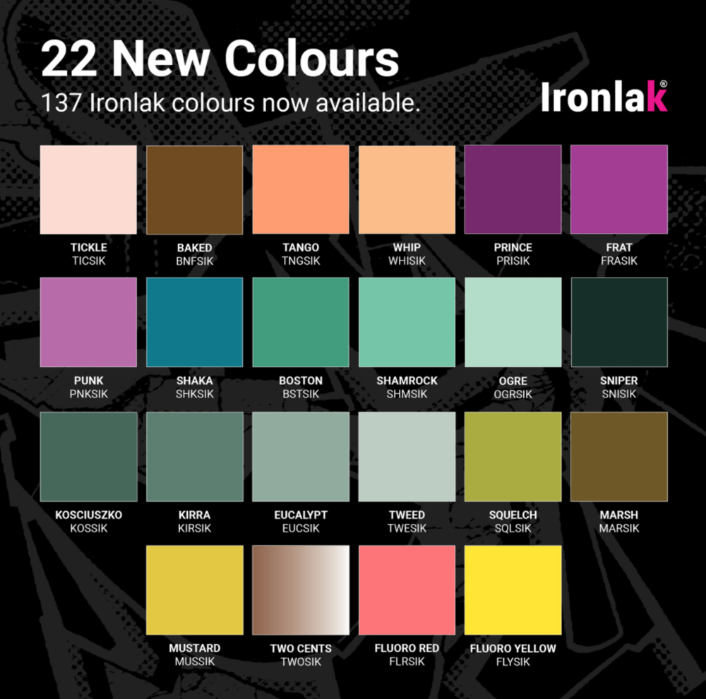 ironlak 22 new colours