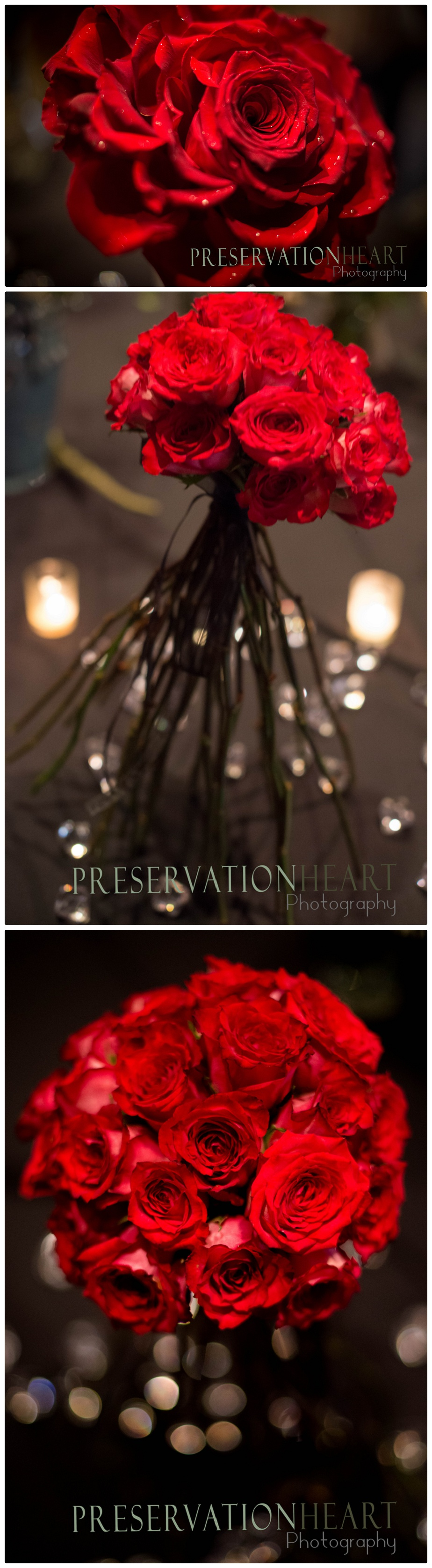 The red roses she has adapted into unusual bouquets and centerpieces - these will turn heads!