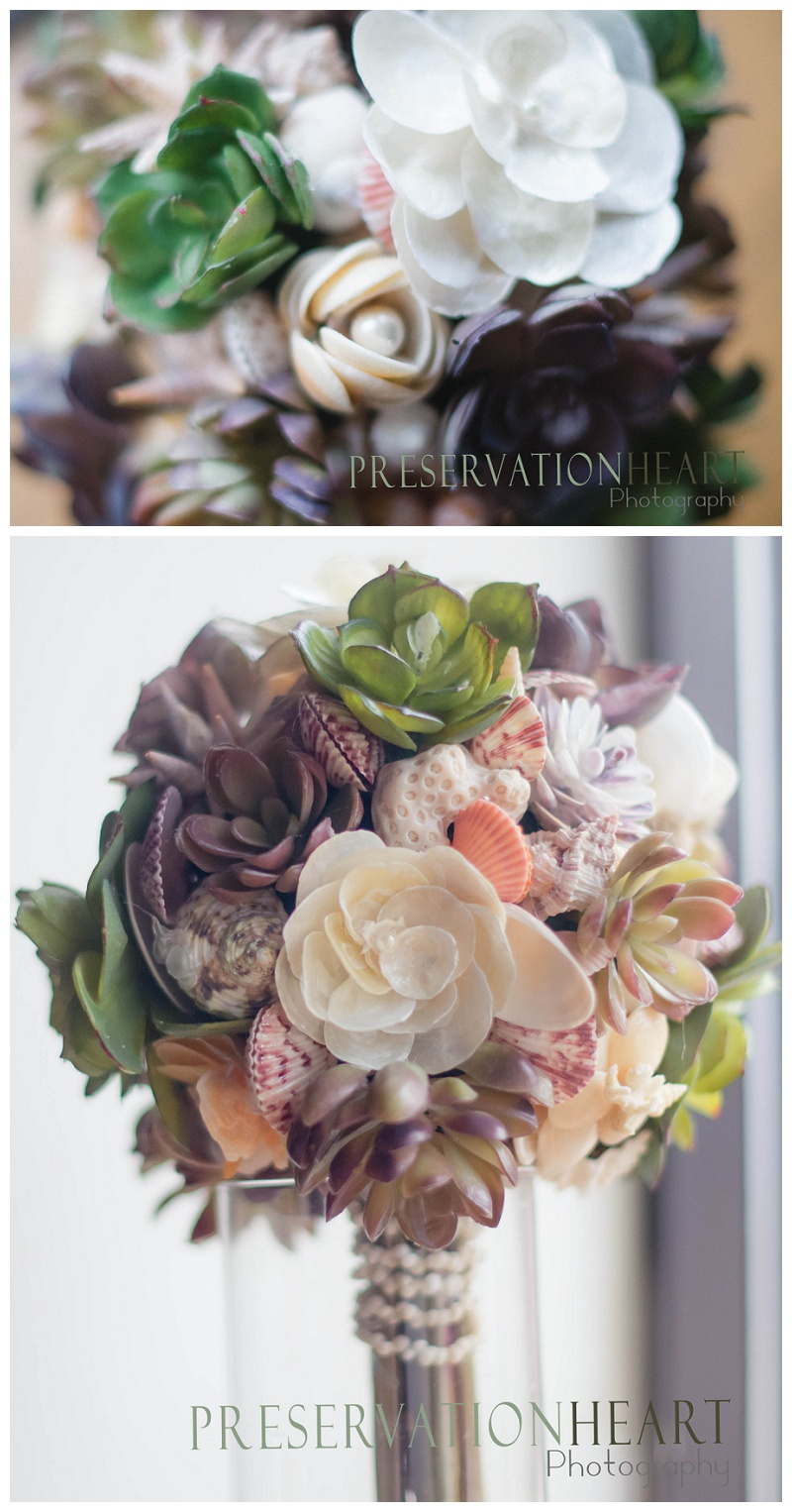 Succulent and seashell bouquet - you can take this with you on your destination wedding, or just perfect for a lakeside event.  Please remember to invite me!