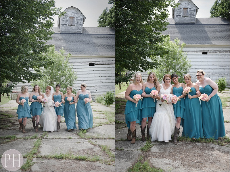 Bridesmaids at Marengo, IL. Farm