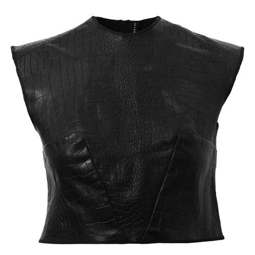 Natalia Leather Crop Top