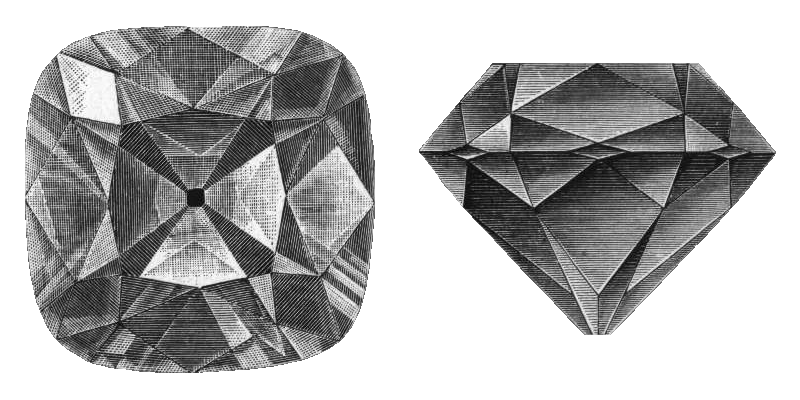 A drawing of the regent diamond showing all it's facets