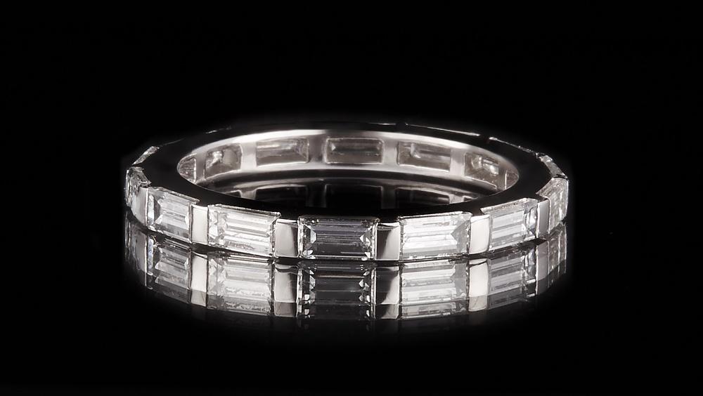 Baguette Set Diamond & Platinum Deco Eternity ring, by GUY&MAX