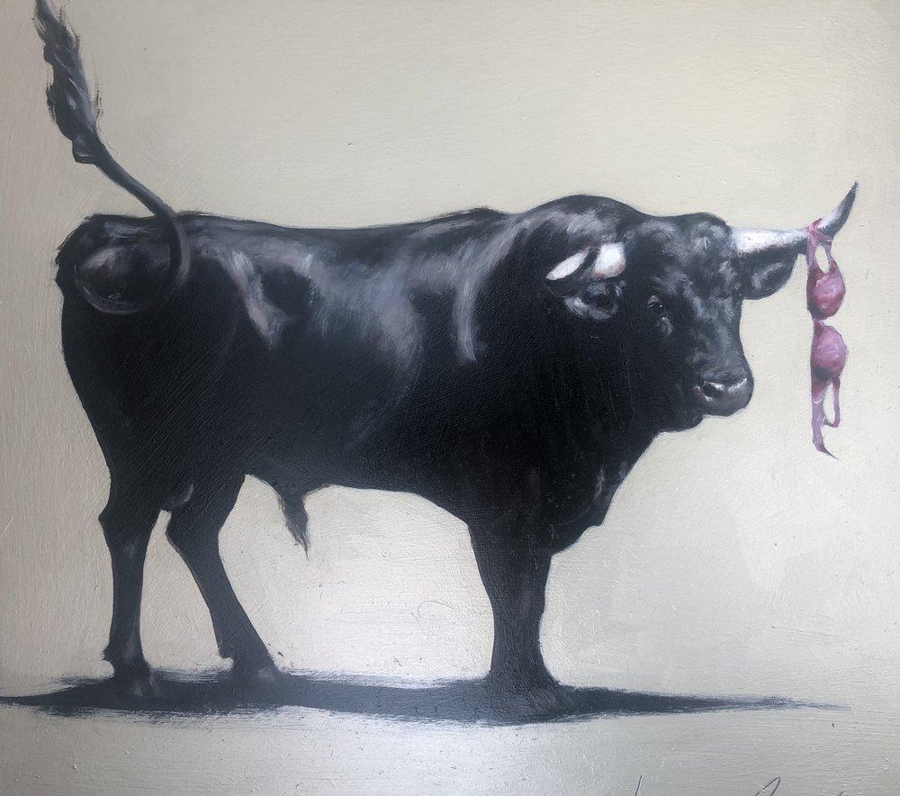 """""""Bull & Bra"""" 52x52cm Oil on canvas  Lucinda Roper"""
