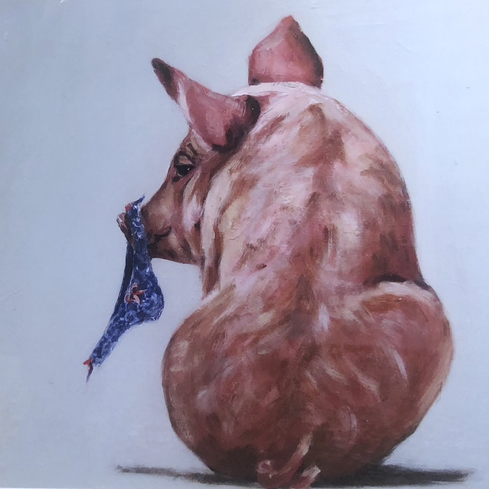 """Pig & Pants"" 37x29cm (approx) Print  Lucinda Roper"