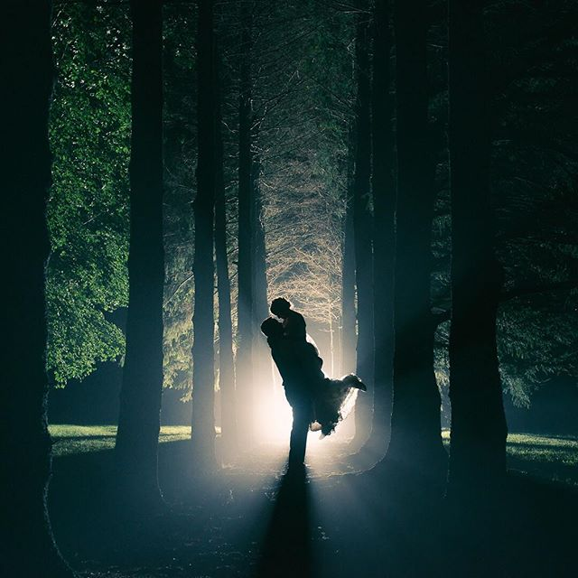 One from the x files. Gotta love that surreal feeling when the fog rolls in at the end of the night. #nightshot #bride #brideandgroom #wedding #weddingphoto #weddingphotoinspiration #magmod #nikon #instalove #portrait #ontarioweddingphotographer #stratfordweddingphotographer #endoftheday #forrest #pines #liftoff #localwedding #weddingday #silhouette #silhouette_creative #backlit #strobist #magical #xfiles