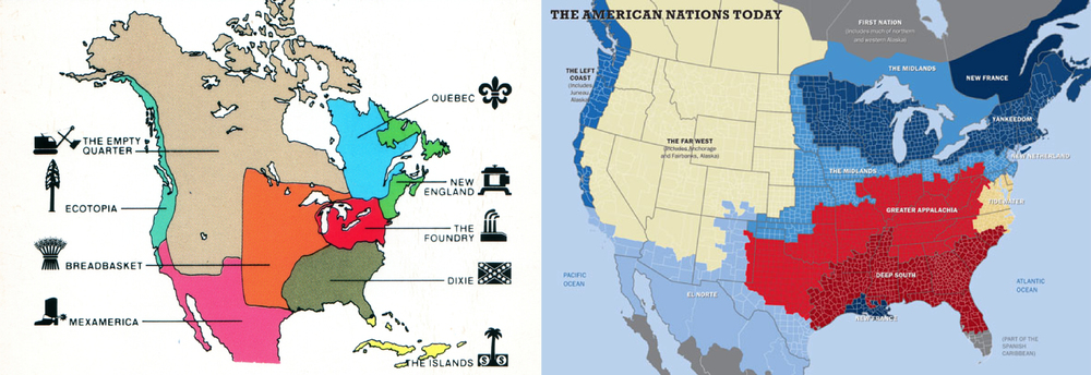 Joel Garreau's nine North American nations (left) verses Colin Woodard's eleven (right).  Their approaches vary on a spectrum from observational anthropology to ethnocultural historic analysis.