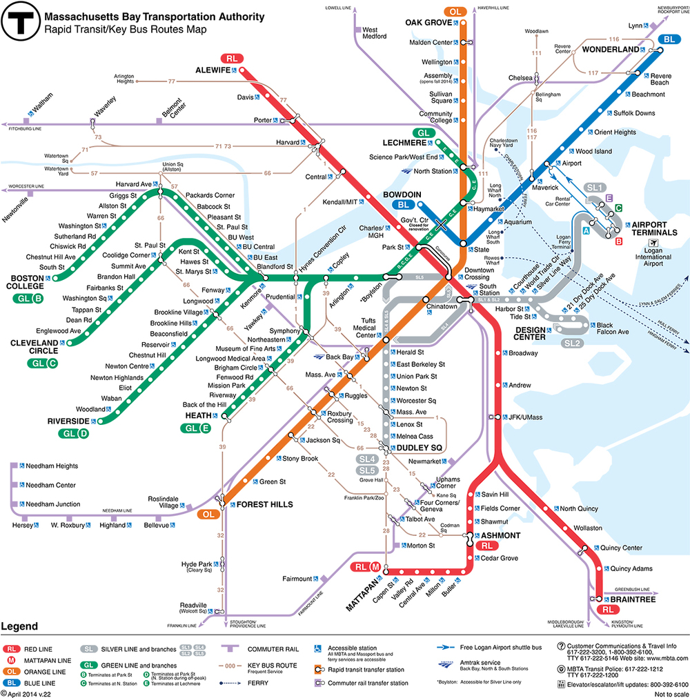 The MBTA's new map redrawn based on a design by Michael Kvrivishvili.