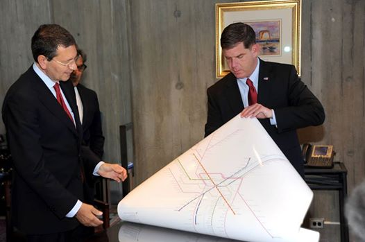 Mayor Walsh presenting Mayor Marino with the map I designed as a gift from Boston to Rome.