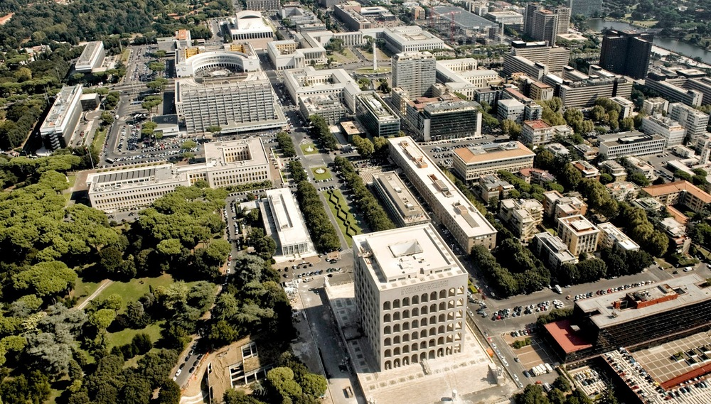 The EUR Campus south of Rome.  At the center-bottom is the Palazzo della Civilità Italiana, the complex's architectural centerpiece.
