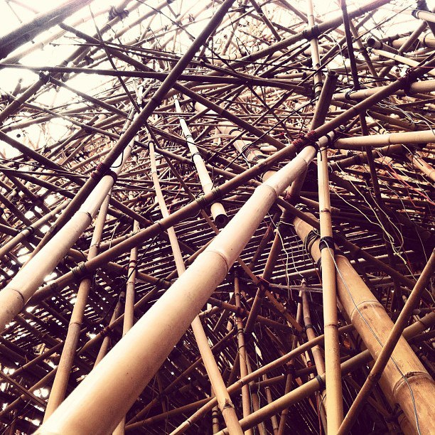 A four-story bamboo tower was constructed as part of an exhibit at the MACRO last year in Rome's Testaccio neighborhood.