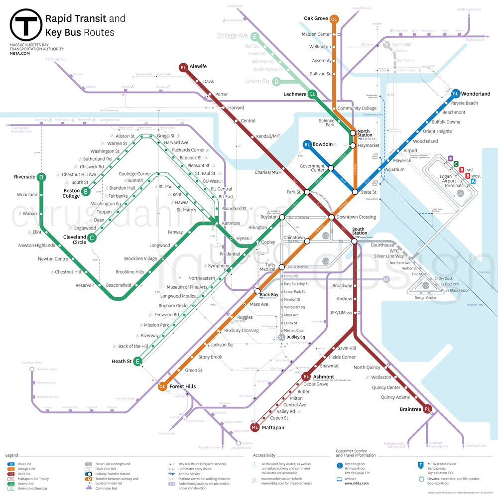 This map of the existing MBTA system includes a simplified geography, clearer bus routes, more Commuter Rail stops, walking connections between stations, enhanced georealism, and clear designation of Bus Rapid Transit (BRT) and trolley routes that do not have adesignated right-of-way.