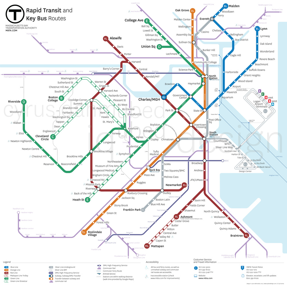 This map imagines the MBTA of 2024 with all currently planned/under construction lines and stations completed. More importantly, it includes the addition of a new Silver Line train running from downtown Everett through Charlestown, downtown Boston and on to Franklin Park, a new Red Line branch from Harvard through Allston, Brighton, Brookline, Jamaica Plain, Roxbury and terminating at Newmarket on the Fairmount Line, and a new Blue Line branch running through Chelsea from Maverick to Malden with connections to the Chelsea Commuter Rail and Silver Line at Everett.