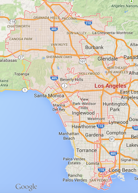 The City of Los Angeles is a confusing and discontinuous jurisdiction within the patchwork of cities that make up LA County. (Google Maps)