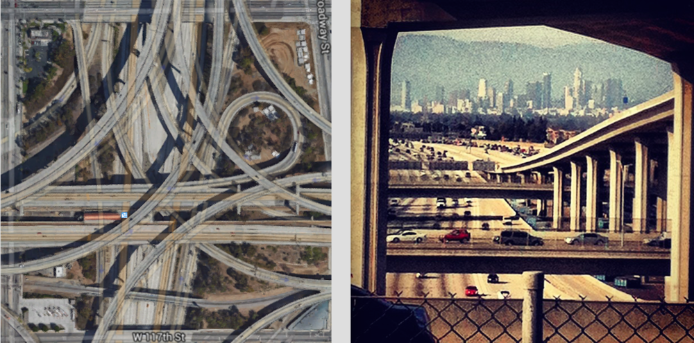 Left: Satellite view of the 110-105 Interchange, with Harbor Freeway Green and Silver Line Metro Station (Source: Google Maps).  Right: The view of Downtown LA from the Harbor Freeway Metro station, located vertically amidst the massive Judge Harry Pregerson Interchange, which has ramps that soar to 120 feet. (Author's collection)