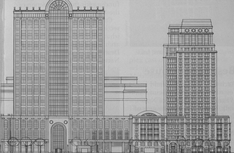 Robert A. M. Stern's 222 Berkeley is seen at right in this drawing.  Its atrium is under the curved glass between 500 Boylston and 222 Berkeley.