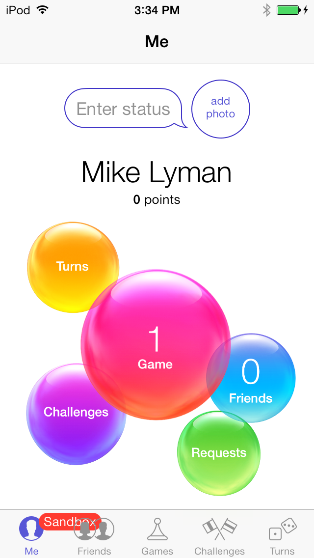 Game Center app when logged into a Sandbox Account