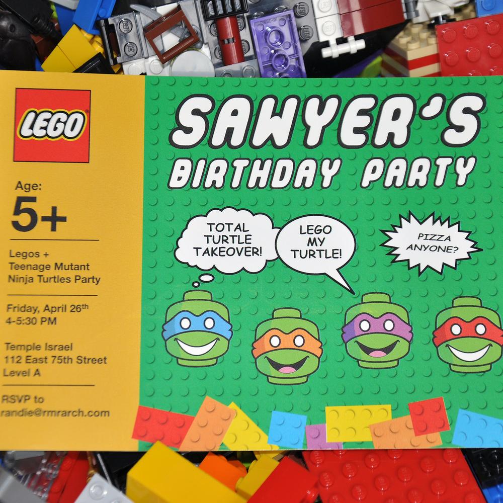 Lego Teenage Mutant Ninja Turtles Party Michele Zipper Design – Ninja Turtle Party Invitation