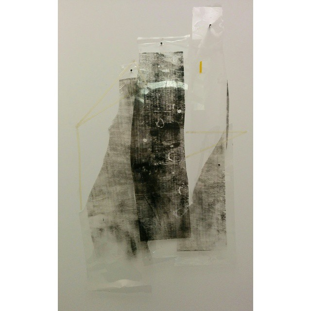 Untitled  Irregular ~2.5 ft x 1.7 ft, durlar, artist tape, oil based printmaking ink, and amber heat treated tape