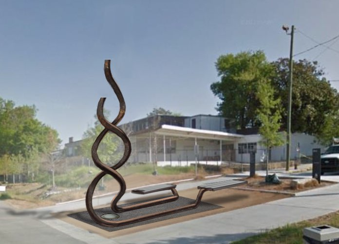 A Phoenix Rising: The Helix. Sculpture proposal  for The Atlanta Beltline. Made from two steel beams it features twin aluminum benches that run parallel, hinting at the railway systems that once functioned here, and reach to the sky in helix form. Quotes by historical Atlantan's will be chosen by locals via an online vote and later engraved. Providing an opportunity for locals to take part in the arts projects at the Beltline and feel a sense of ownership through participation.