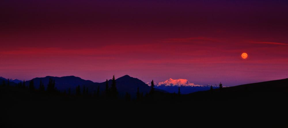 Orange Moon Over Mt. Deborah