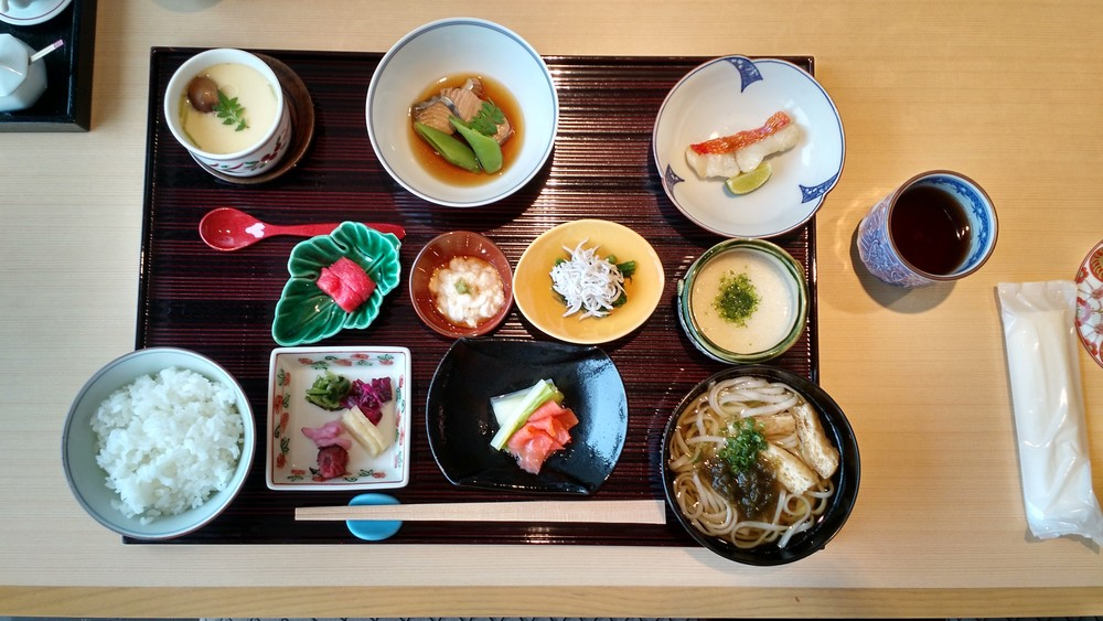 A traditional Japanese breakfast, included with our hotel stay each morning.