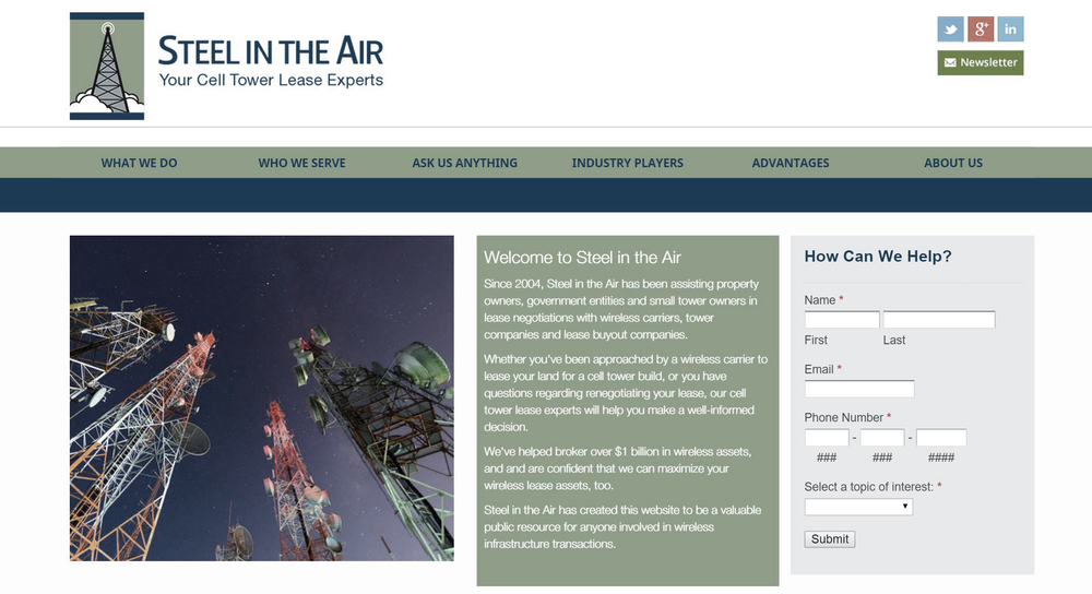 Steel In The Air - Expert Cell Tower Lease Consultants | New Example Technical SEO Client