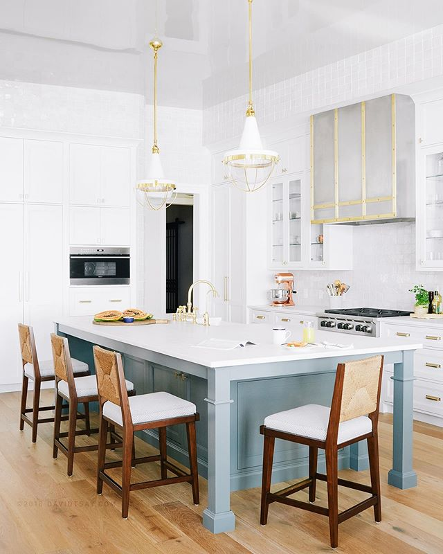 Fresh new kitchen with a zen-like color palette and a kitchen island large enough for 2BR 1BA 📸 #newworktsay x @andrewjhow styled by @lizstrongstyle