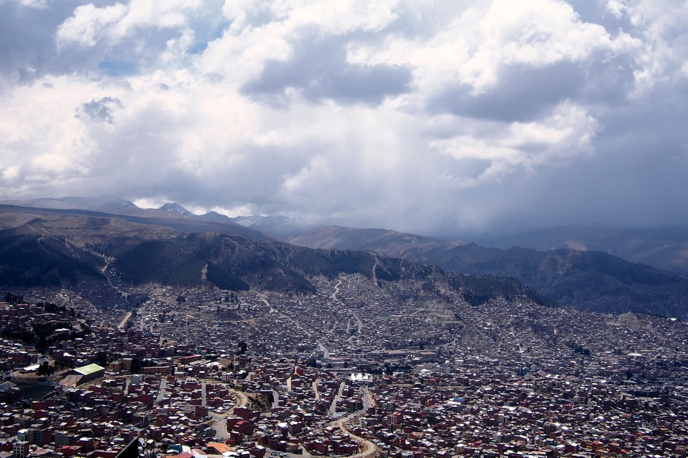 View of La Paz from the market in El Alto