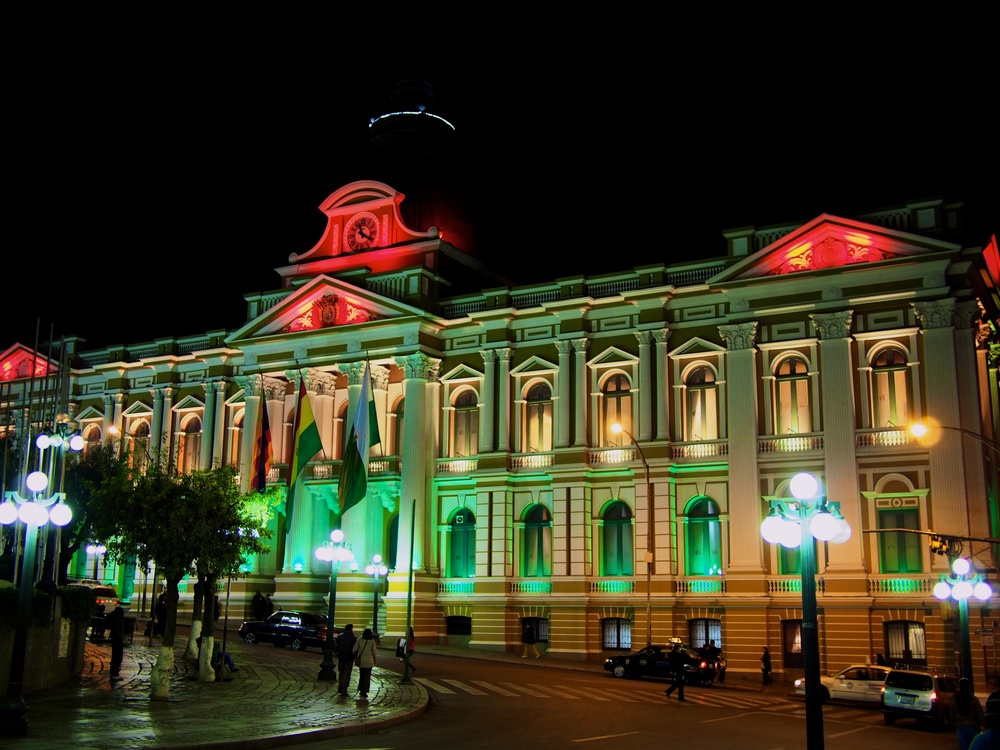 Legislative Palace lit up at night