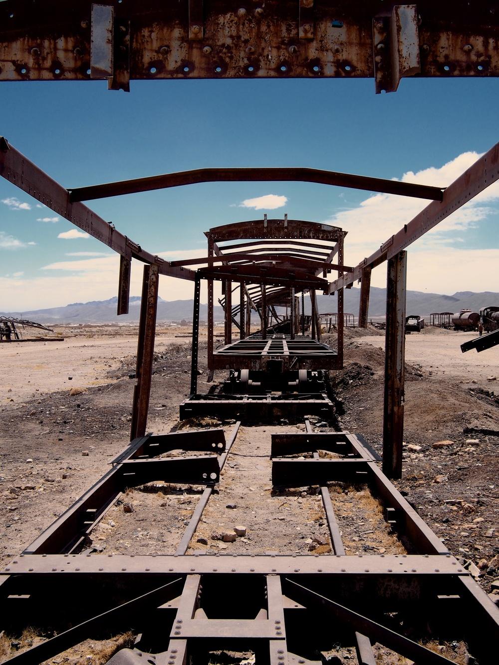 Cementerio de trenes (train cemetery) 3 km outside of Uyuni where a collection of abandoned 19th century trains still live
