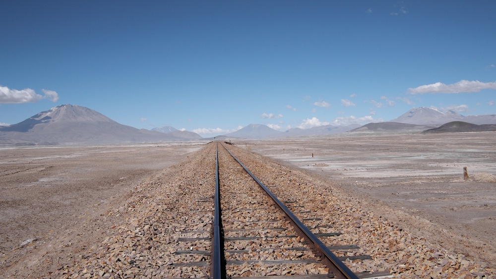 Abandoned railroad tracks in the Chiguana desert
