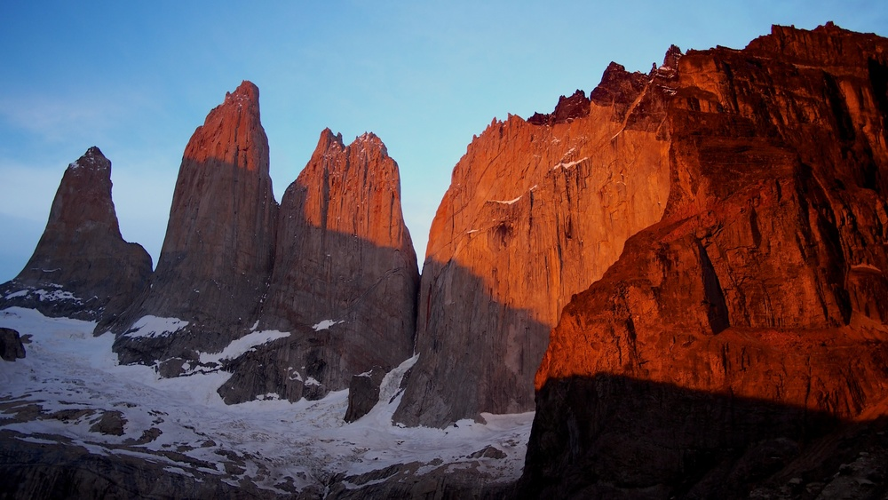 The sun begins to shine on the infamous Torres del Paine