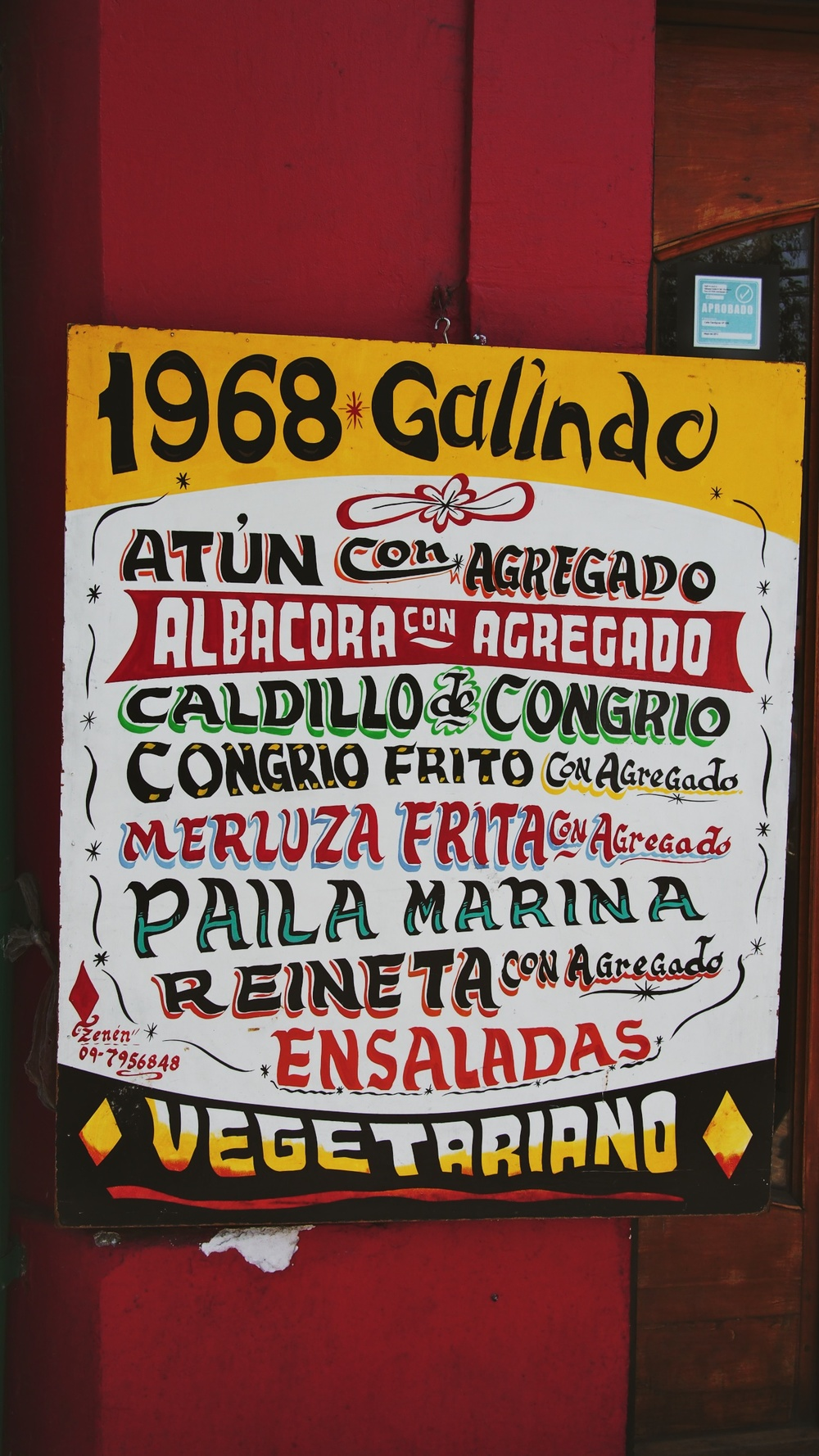 Menu at a traditional Chilean restaurant in Santiago