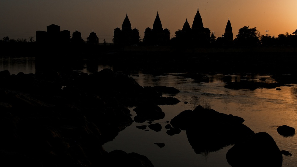the chhatris at sunset